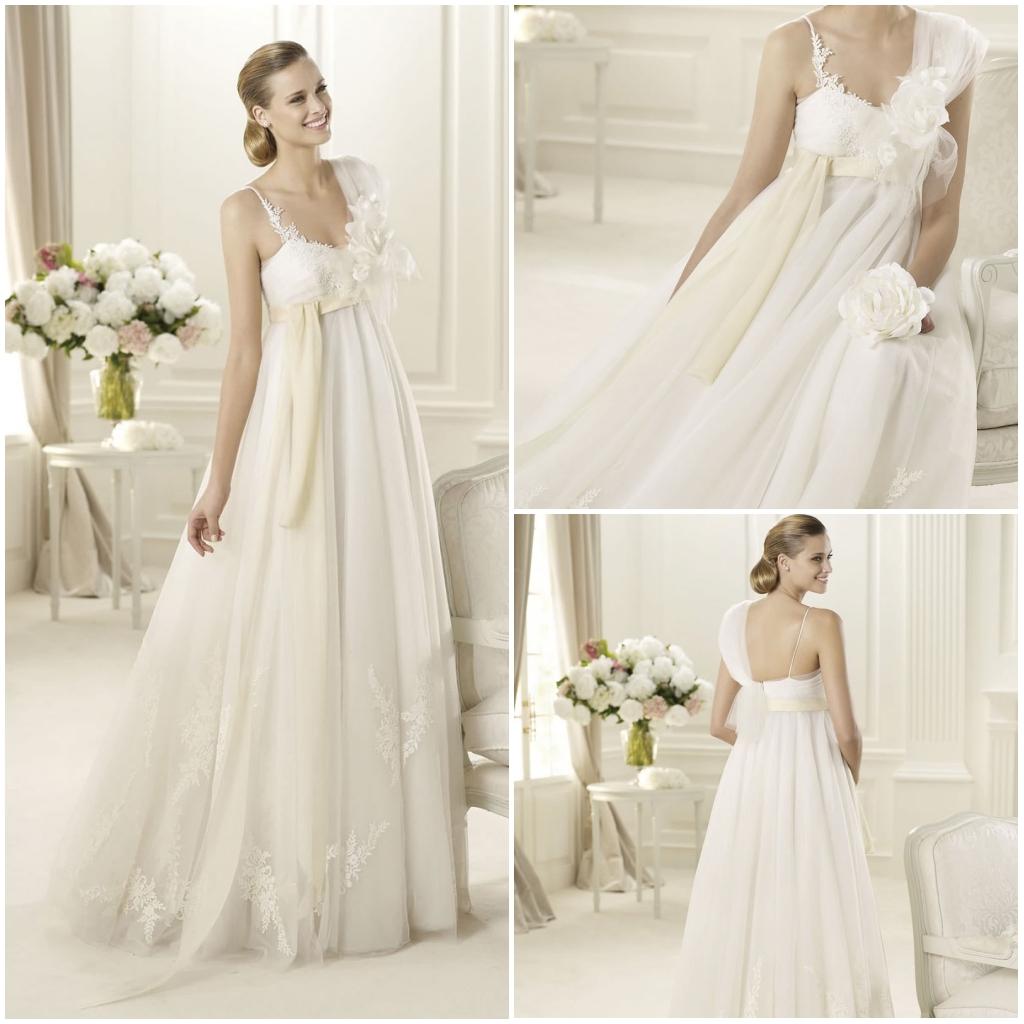 robe de mariage empire avec fleurs 3D & détails dentelle
